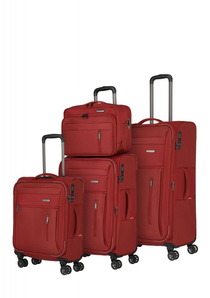 Travelite Capri Kofferset 4w 4-tlg L erw./M erw./S, Bordtasche, rot 89840-10 Koffer mit 4 Rollen Koffer/Kofferset